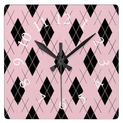#Think-Pink-Argyle-Stylish-Feminine-Multi-Shapes Square Wall Clock - #giftideas #teens #giftidea #gifts #gift #teengifts