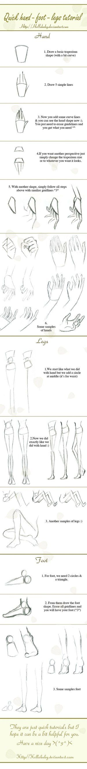 Quick drawing hand-legs-foot tutorial by `Hellobaby on deviantART