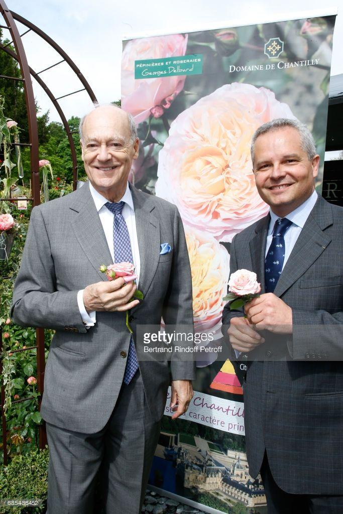 Prince Amyn Aga Khan and Georges Delbard attend the Baptism of the Rose 'Domaine de Chantilly', selected by Prince Amyn Aga Khan and created by Georges Delbard during the Days of Plants 2017 at Chateau de Chantilly on May 19, 2017 in Chantilly, France.