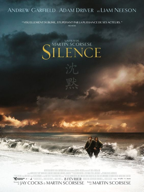 Directed by Martin Scorsese.  With Andrew Garfield, Adam Driver, Liam Neeson, Tadanobu Asano. In the 17th century, two Portuguese Jesuit priests travel to Japan in an attempt to locate their mentor, who is rumored to have committed apostasy, and to propagate Catholicism.