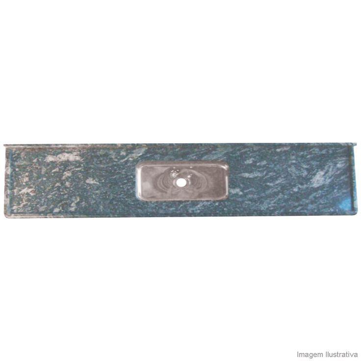 Pia de Granito Preto Indiano com Cuba de Inox 55x200cm Bom Jesus