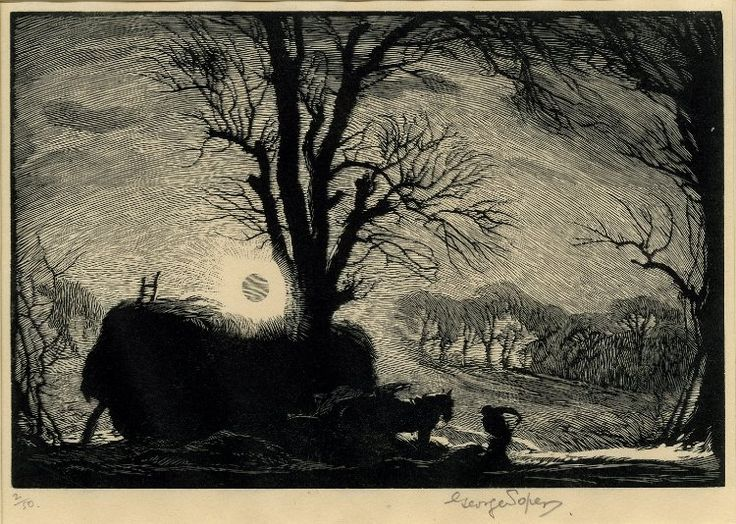 George Soper, A tree, hay-cart and man working in field thrown into silhouette by the setting sun. c.1938 Wood-engraving