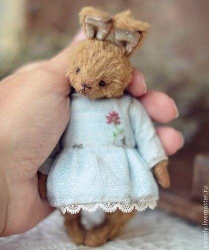 """Little Bunny """"Rose"""" (11cm) - коричневый,кролик тедди,друзья тедди,зайка девочка"""