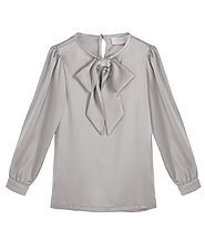 Satin Pussy Bow Blouse - 3 Colour Choices. A lightweight satin blouse with signature pussy bow (detachable) comes in a beautiful shade of Silver, Pink or Black. 100% Polyester. Gentle Hand Wash at 30 degrees. Do not tumble dry or Dry Clean.