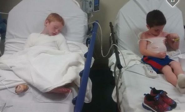 THIS IS WHY DAY CARE FRIGHTENS ME!!!!!     Connor and Trey, two Oklahoma boys who suffered extreme sunburns on a daycare trip to a water park. - via GoFundMe