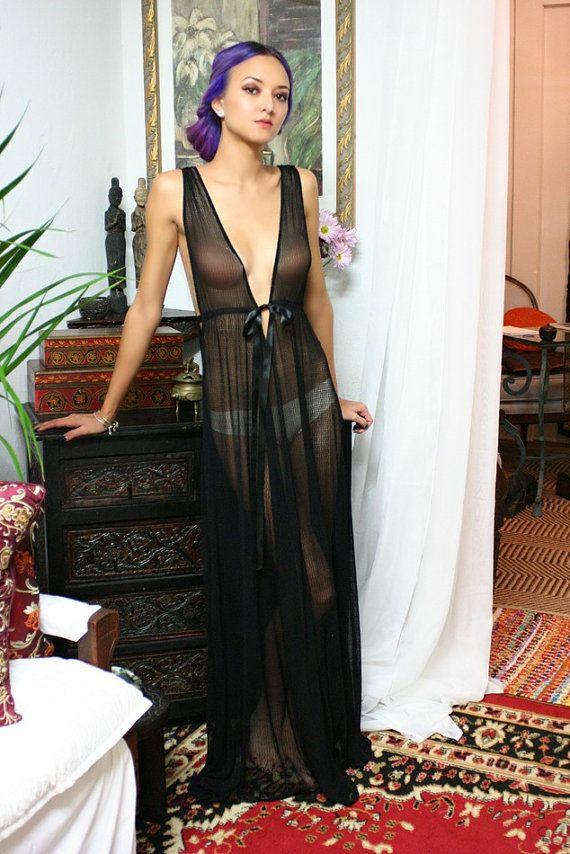 Gossamer Spun Mesh Black lace Nightgown Black от SarafinaDreams
