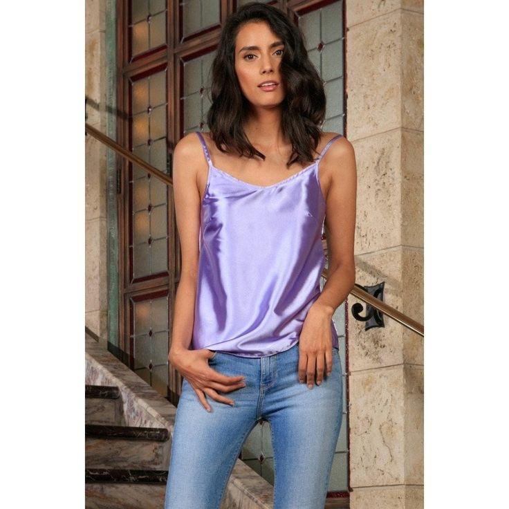 Lavender Charmeuse V-Neck Sleeveless Cute Trendy Dressy Top - Women