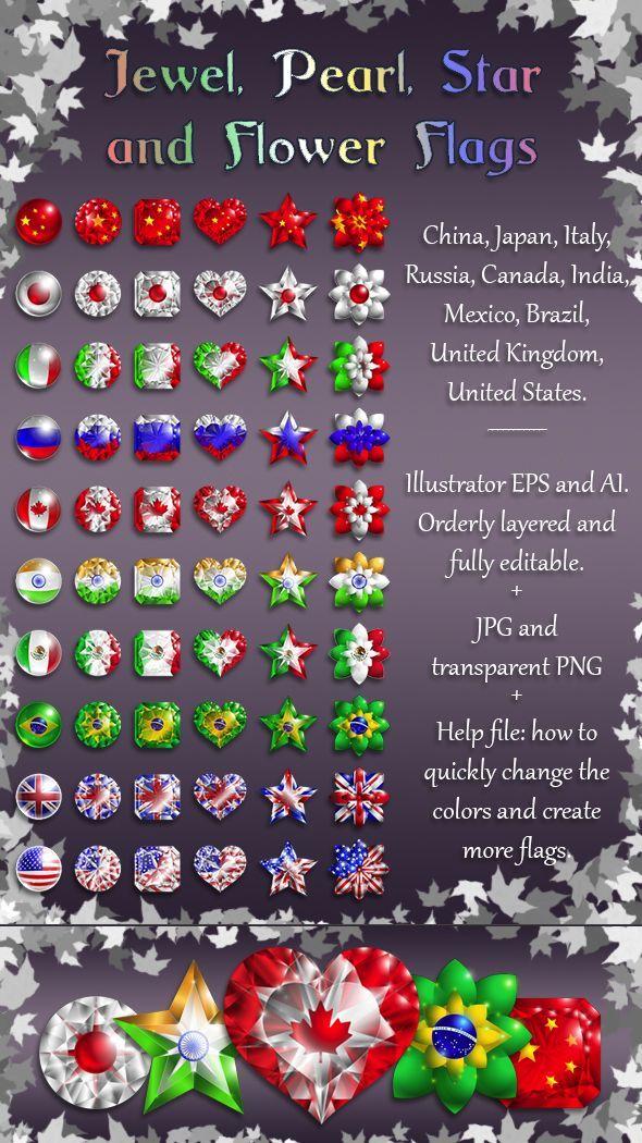 Vector Flags Clipart Language Icons Gemstones Digital Stock Etsy Clip Art Language Icon Downloadable Art
