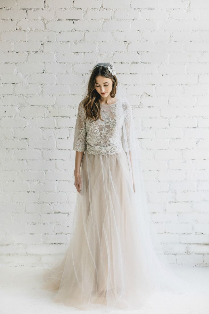 Wedding Dress, Two Piece Bridal Dress, Bridal Separates ,Pastel Champagne Ivory Nude Wedding Dress ,Lace Top , Tulle Skirt - Peony by JurgitaBridal on Etsy https://www.etsy.com/listing/511056471/wedding-dress-two-piece-bridal-dress
