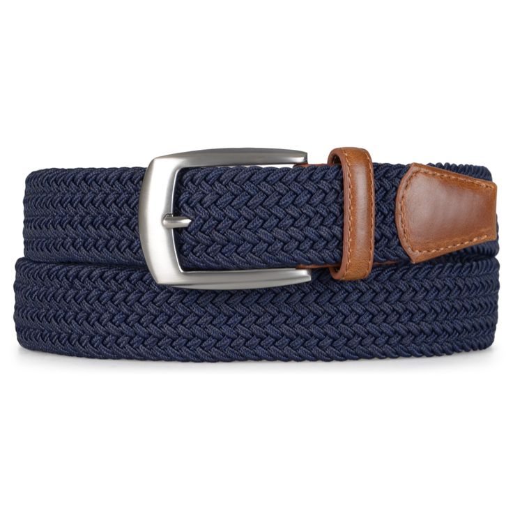 Show casual essences with upscale style in a braided belt by Vance Co. This mens belt features woven fabric that highlights braided appearance and is accented with faux leather tips on the end of the