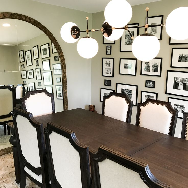 Black And Brass Cumula Globe Chandelier In Dining Room Wayzata MN