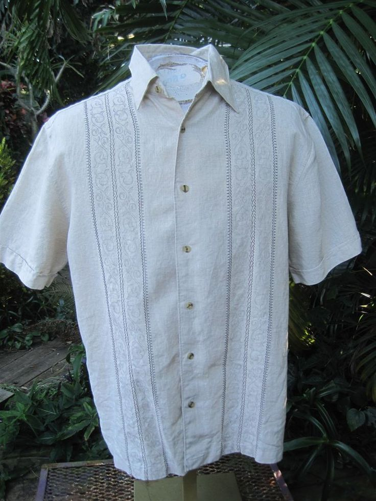 Mens shirt embroidered m pit to havanera linen