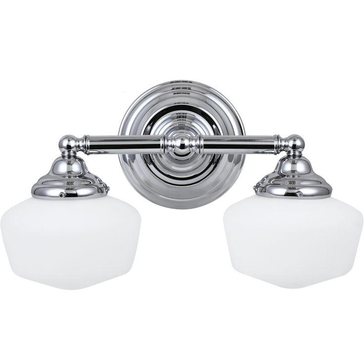 Academy 2 Light Chrome Wall/Bath Vanity With Satin White Schoolhouse Glass    Overstock