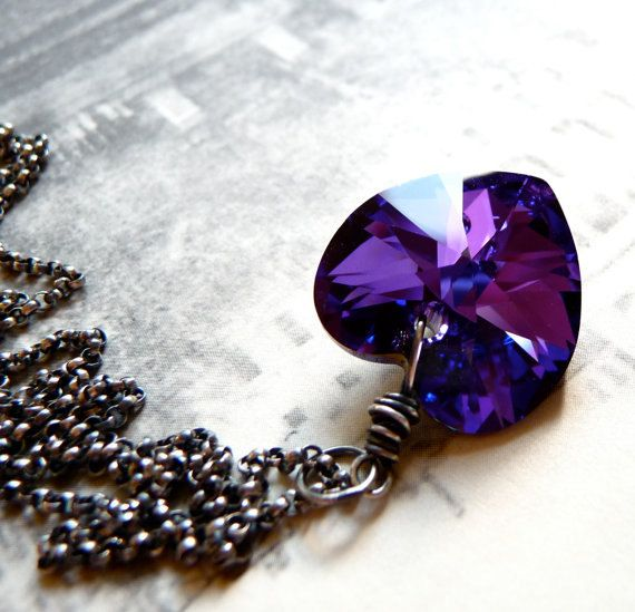 Valentines Swarovski Crystal Necklace, Purple Heart Necklace, Oxidized Sterling Silver Chain Necklace