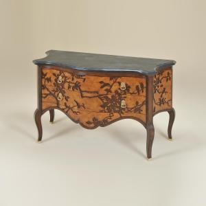 Maitland Smith 5030-330 Natural Finished Chest of Drawers, Laser Cut Branch & Bird Motif, Black Waxstone Top