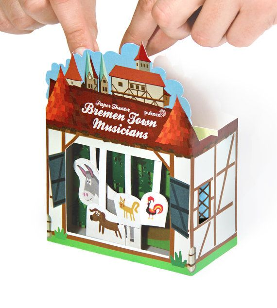 Bremen Town Musicians Paper Theater - Printable PDF Toy - DIY Craft Kit Paper Toy with free Paper Finger Puppets - Birthday Party Favor