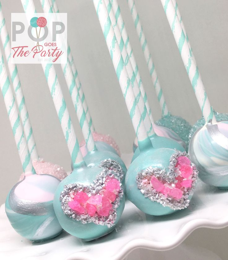 Pink Silver and Blue Cake Pops u2013