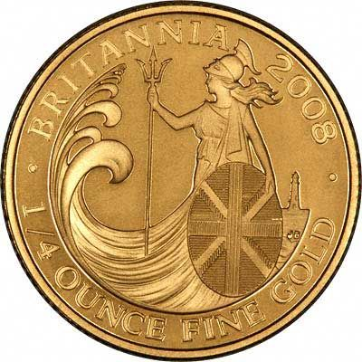 Reverse of 2008 Quarter Ounce Gold Britannia Proof