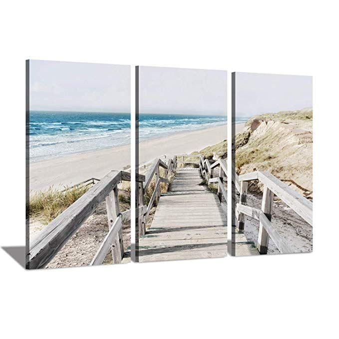 Amazon Com Seascape Artwork Coastline Pier Picture Wooden