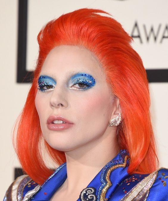 Lady Gaga in Marc Jacobs pays tribute to David Bowie at the 2016 Grammy Awards