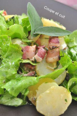 salade de pommes de terre, lard grillé, raifort doux et sauge
