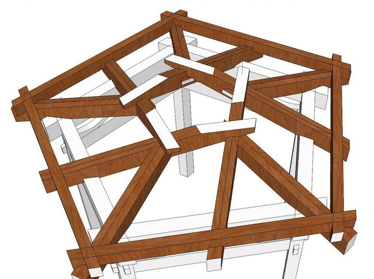 Gazebo roof step-by-step beginning with a reciprocal roof