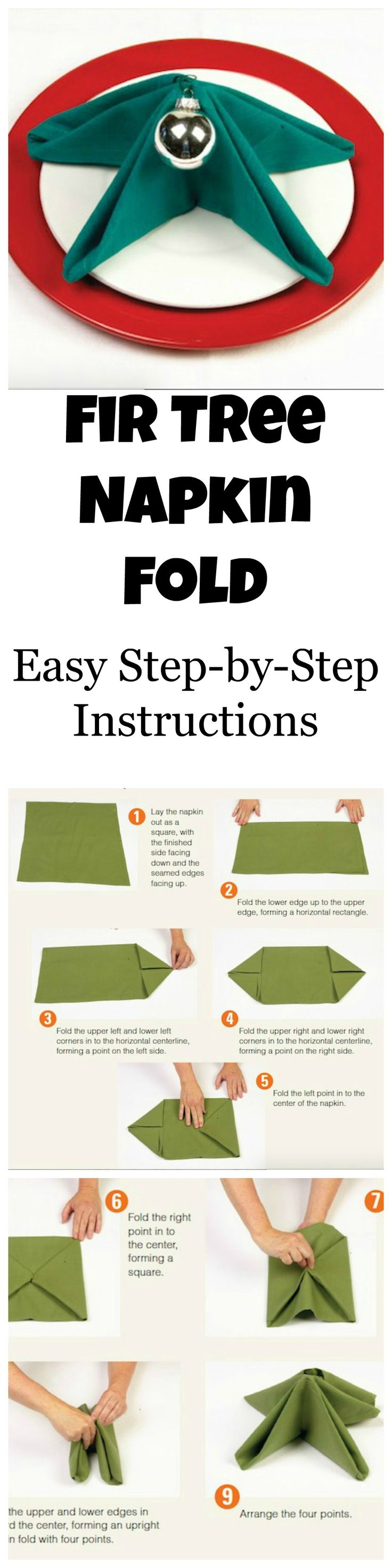 Your Step By Step Guide To The: Folding Your Dinner Napkins Like A Fir Tree Is Easy With