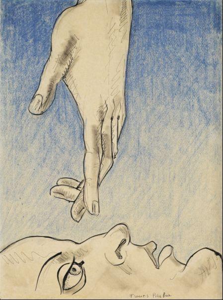 Francis Picabia (1879-1953), Senza titolo (La mano), 1932, pastello a colori, penna, inchiostro e matita su carta.