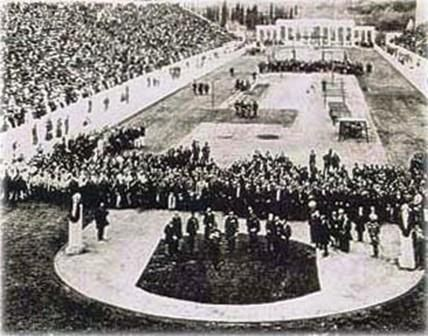 The opening ceremony in the Panathinaiko Stadiumm, Athens Olympics, 1886