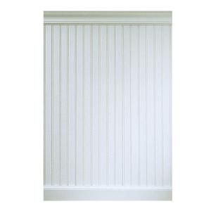 Wainscoting for bathroom at Home Depot $46.96 per 8 ft section includes chair rail and baseboards