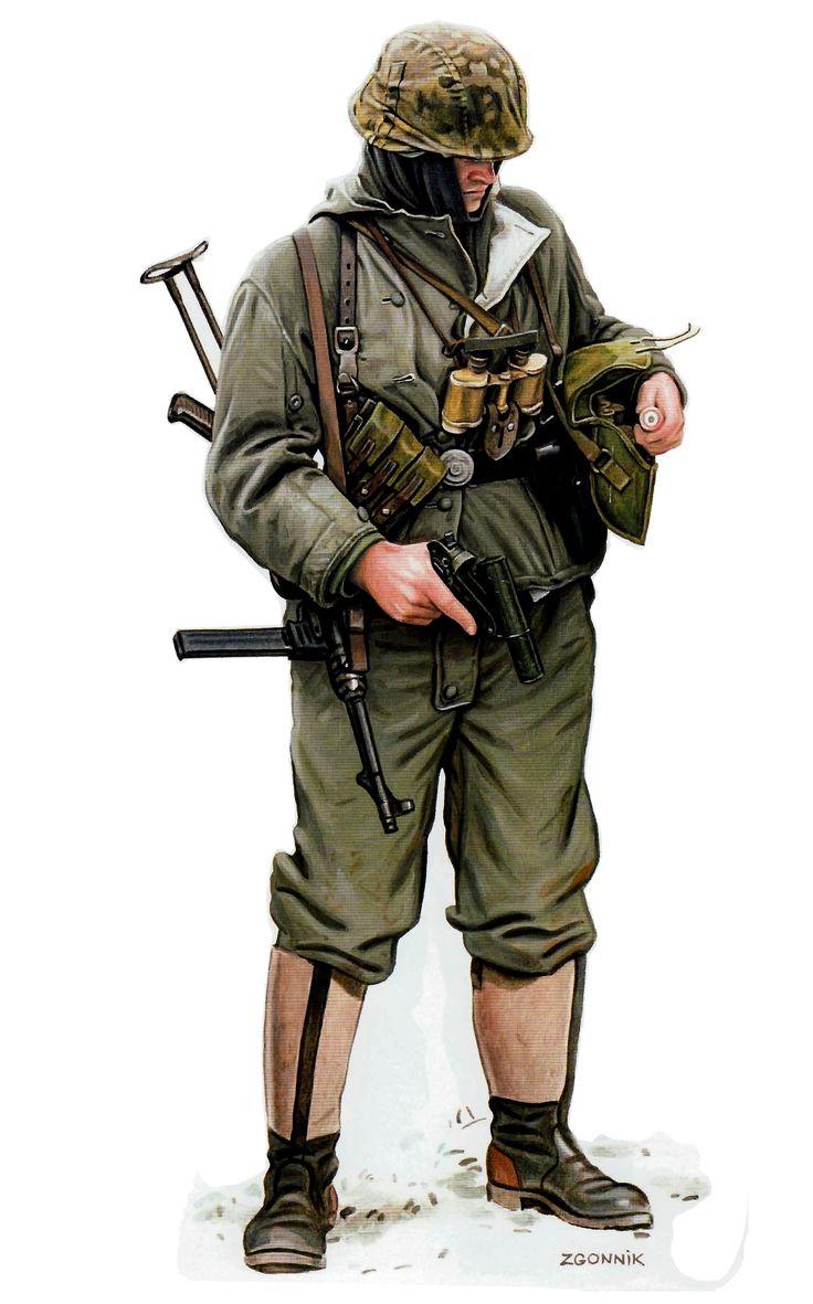 SS-Obersturmfuhrer (Teniente), SS-Division Das Reich, frente oriental, invierno de 1942-43. Dmitriy Zgonnik