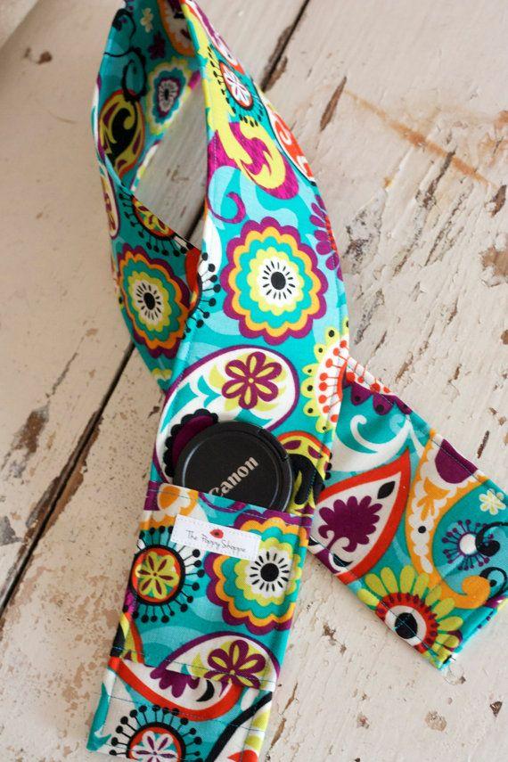 Fotocamera cinghia coperchio - lente cappuccio tasca e imbottitura modello luminoso incluso-turchese / blu