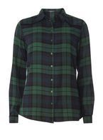 Womens **Tall Green Yoke Detail Check Shirt- Green
