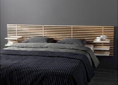Cette tête de lit en bouleau est un accessoire déco original pour décorer la chambre.