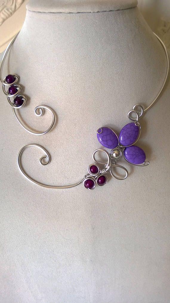 PURPLE NECKLACE Mauve necklace purple wedding necklace open