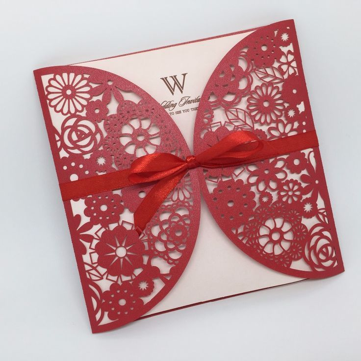 New product classic laser cut chinese red wedding invitations