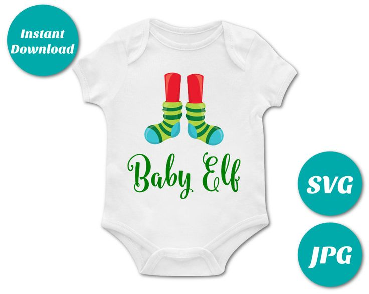 Make your own Christmas onesie with the Baby Elf Printable Iron On Transfer. Or use the SVG files with your cutting machine (Silhouette or Cricut) Matching files for the whole family. Use promo code PINTEREST10 to save 10% off purchase.