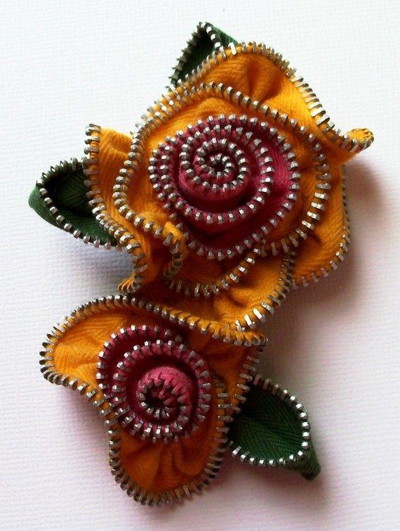 Love this Zipper Flower Brooch