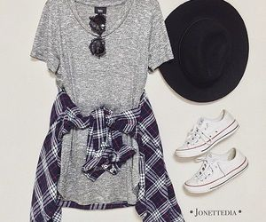Casual outfit.  Grey t-shirt dress, with a flannel top, and Converse sneakers.
