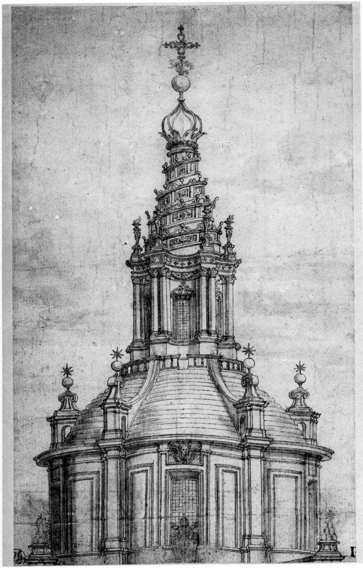 BORROMINI Drawing of the drum and dome of Sant'Ivo alla Sapienza, Rome, 1642.