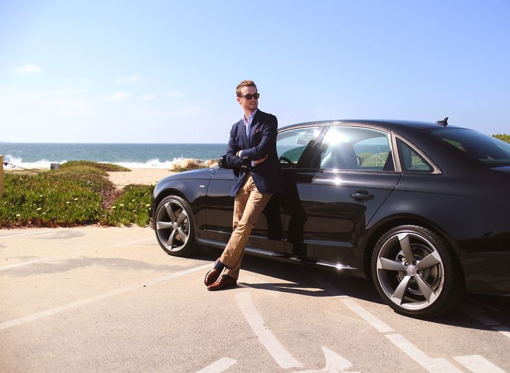 """Via fromsqualortoballer: """"Back in California. Featuring the California Tuxedo and Gus' new wheels. Monterey, CA Blazer - Beckett & Robb x Loro Piana   Trousers - J. Crew """"Bowery""""   Cotton-linen shirt - Proper Cloth   Loafers - Brooks Brothers   Pocket Square - Put This On   Shades - Warby Parker   Socks - Pantherella"""