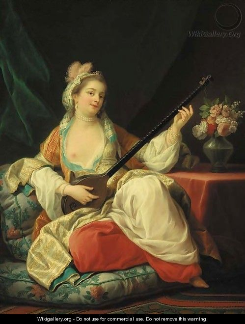 Carle Van Loo: An Odalisque Playing a Stringed Instrument. Portrait of Madame de Pompadour commissioned for Bellevue.