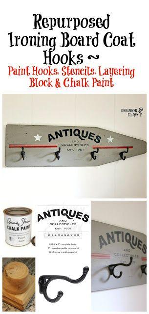 Vintage Ironing Board Repurposed as Wall Coat Hooks organizedclutter.net