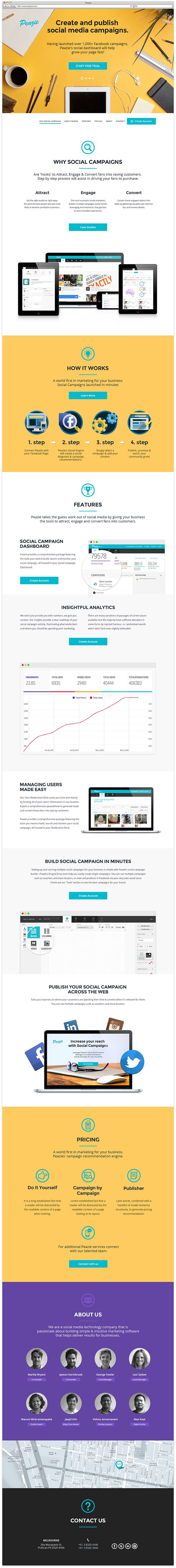 Great use of long scroll sit. I love the photo at the top, great way to show the concept visually. Peazie #Web #Design #WebDesign