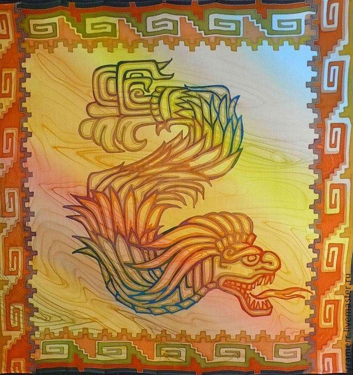 """Купить Платок """"Орнаменты ацтеков"""" - желтый, орнамент, узоры ацтеков, этническое искусство, шифон, шелк"""