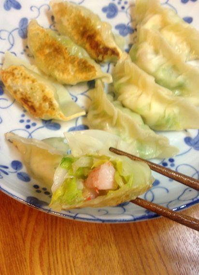 2014.5.5. Ebi Gyoza (spring cabbage & shrimp dumplings)
