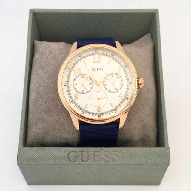 GUESS / AVIATOR ROSE-GOLD TONE CANVAS Men's WATCH