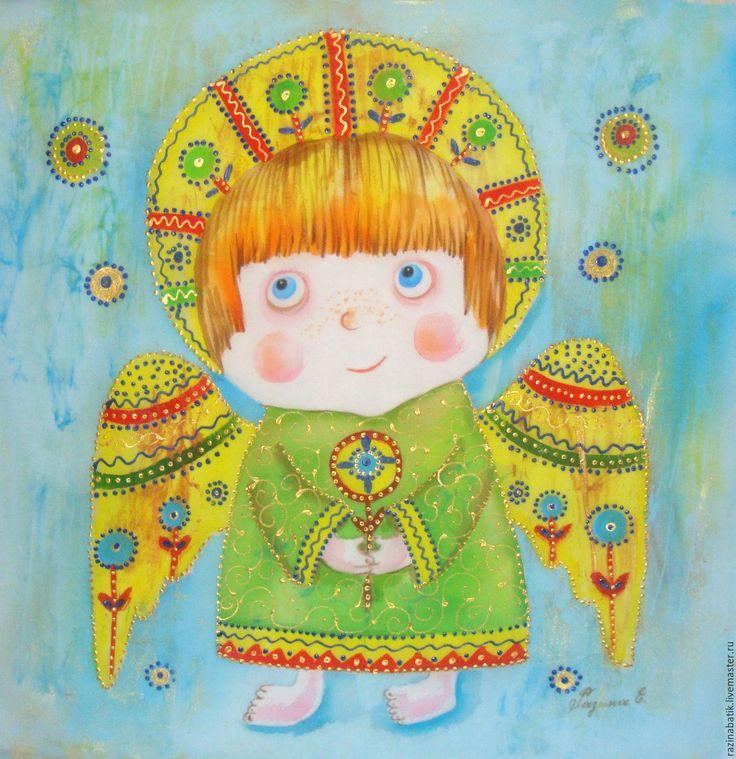 Купить Солнечный Ангел( батик, рама входит в стоимость) - желтый, ангел, бог, картина, Батик