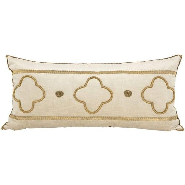 Long Velvet Embroidered Pillow (6,000 SAR) ❤ liked on Polyvore featuring home, home decor, throw pillows, beige, euro throw pillows, velvet throw pillows, metallic throw pillows, beige throw pillows and european home decor