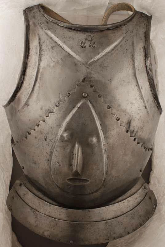 Infantry Breastplate - Churburg 37  Milanese or Brescian manufacture C. 1470  Marks: Letter Z below a split cross and FARE crowned  Fast air cooled after fabrication, c. 242 VPH hardness as per Alan Williams, the Knight and the Blast Furance